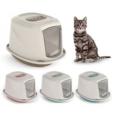 Premium GALAXY DELUXE Hooded Pet Cat Kitten Litter Tray Box Carry Handle Filter