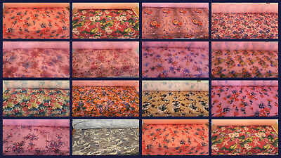 Print Textured Polyester Cotton Fabric Material Lycra Floral Stretch Way
