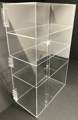 """Acrylic Counter Top Display Case 12""""x 9.5"""" x19""""Locking Cabinet Showcase Boxes"""