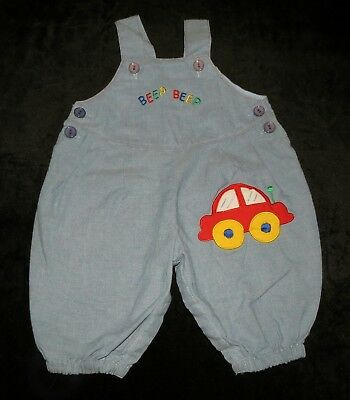 Adorable Vintage Baby Boy's Romper Longall Overalls Squeaky Car Applique 3-6 M