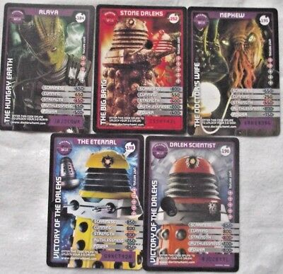 Bundle Lot of 5 x Super Rare Trading Cards - Doctor Who Monster Invasion Extreme