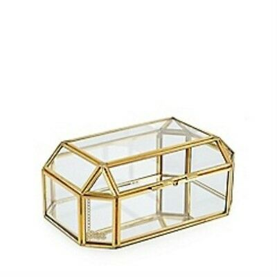Vintage style- Brass Metal and Glass Jewellery Box/ storage box-Perfect for gift