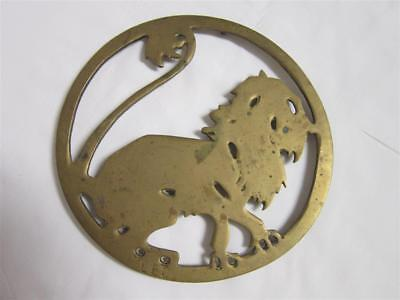 Vintage SOLID BRASS LEO LION TRIVET Zodiac Sign Horoscope Hollywood Regency MCM