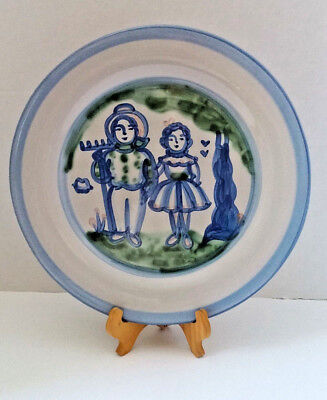 """M A Hadley Large Round Farmer and Wife 13"""" Serving Chop Plate Platter Signed"""