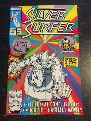Silver Surfer#31 Incredible Condition 9.2(1989) Kree, Skrull War,Ron Lim Art!!
