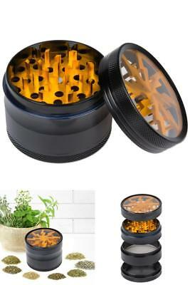 4 Piece Magnetic 2.5 Inch Black Tobacco Crusher Herb Grinder Spice Chromium