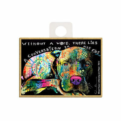 Pit Bull Without A Word There Lies A Dog Dean Russo Wood Fridge Magnet