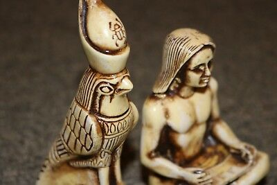 TWO Amazing Egyptian Handmade Statue Ancient ROYAL SCRIBE Museum Collection