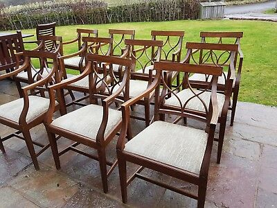 Set of 11 mahogany dining chairs regency style possibly Bevan Funnell