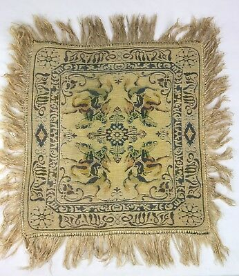"""Vintage Small Square Woven Tapestry With Fringe Middle Eastern Design 21"""" x 20"""""""