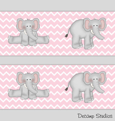 Elephant Chevron Nursery Pink Gray Wallpaper Border Baby Wall Art Decals