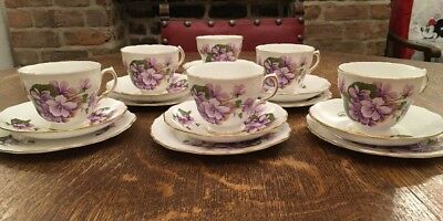 18 Piece Royal Vale Purple Violets Set Of 6 Trios- 1950s/60s Porcelain