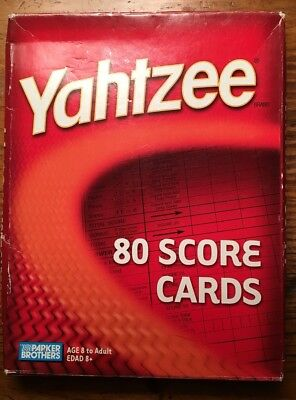 Yahtzee Score Pads Refill Pack 80 Cards Board Game Hasbro