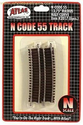 "N Code 55 13.75"" Radius 1/2 Curve (6 pack), Atlas Model Railroad Track, ATL2017"