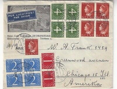 1947 Enkhuizen Netherlands Airmail Advertising Chicago IL Four Blocks 19 Stamps
