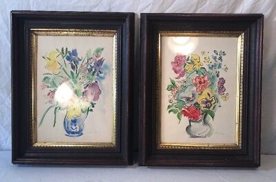 Pair Of Antique Victorian Walnut  Shadowbox Frames With Vintage Watercolors