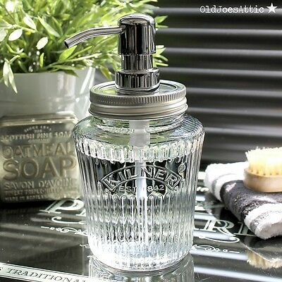 Vintage Kilner Mason Jar Soap Dispenser in Glass with Chrome Metal Pump
