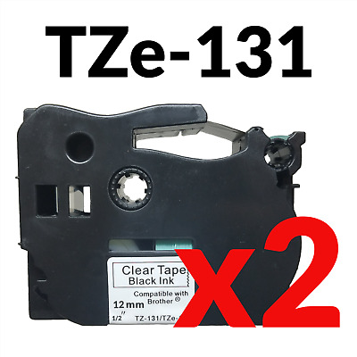 2 PK Black on Clear Label Tape for Brother TZ-131 TZe131 P-Touch 12mm 2 Pack