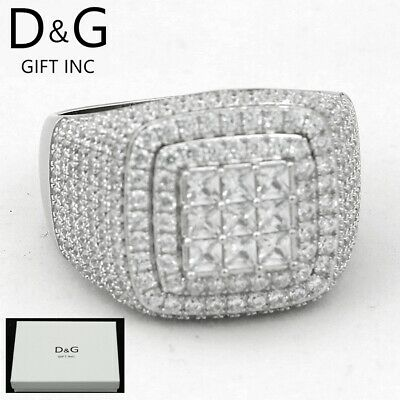 Dg Mens 925 Sterling Silver Cz Iced Out Eternity Wedding Ring 7 8 9