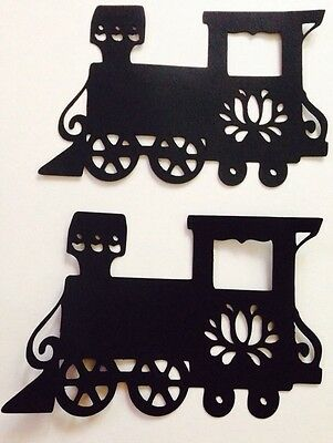 Train Fancy Die Cut Handmade Black Card stock Paper Piecing Embellishment