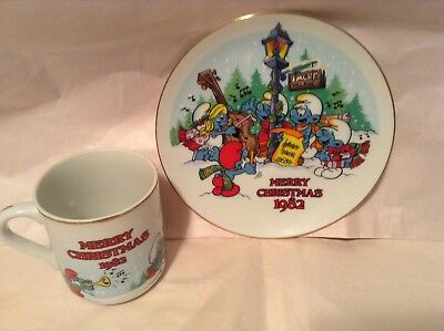 The Smurf Carolers Christmas Mug & Saucer Set 1st of Annual Limited Edition EUC