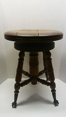 Antique Vintage Wooden Piano Swivel Stool w/Claw & Ball Feet AS IS Parts
