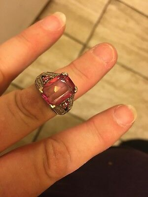 Vintage Sterling Silver Ring with Huge Emerald Cut Pink Stone - Size 7 1/2