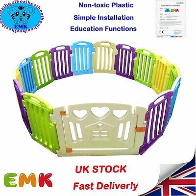 12+2Panels Plastic Baby Large Space Playpen Mixed Colors Education Functions UK
