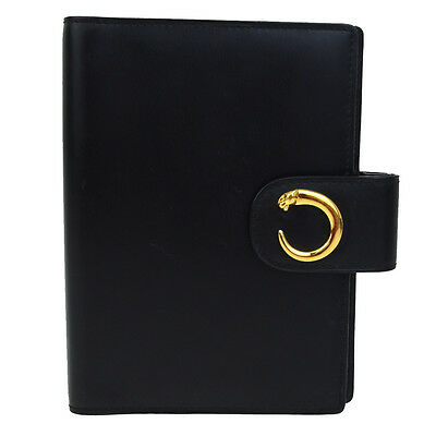Authentic CARTIER Logos Panther Agenda Notebook Cover Leather Black 01Q378