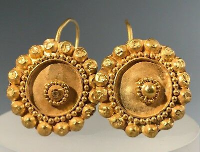 Ancient Roman Decorated Roman Earrings; Elegant Design, Wearable! 100 Bc-200Ad