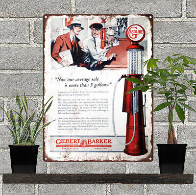 "Gilbert & Baker Visible Gas Pump T176 Metal Sign Ad Repro mancave 9x12"" 60266"