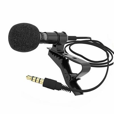 3.5mm Clip On Mic Lapel Lavalier Condenser Microphone for Smartphone iPad Laptop