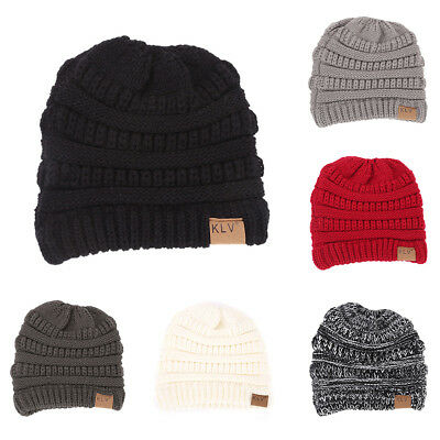 Fashion Women Soft Knitted Bun Ponytail Hat Crochet Warm Sports Beanie Cap AU