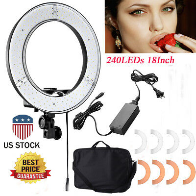18 Inch 240-LED 5500K Dimmable Ring Light Continuous Lighting Pro Studio Kit OY