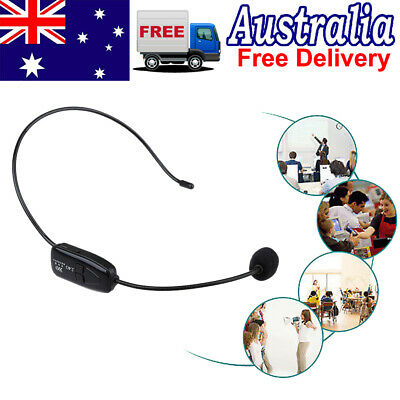 FM Fitness Black Remote Wireless Microphone Headset MIC Receiver & 3.5mm Jack W1