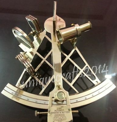 "Heavy Brass Nautical Sextant 10"" Royal Vintage Marine Astrolabe Collectible Item"