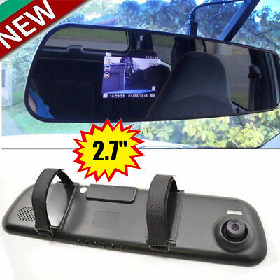 Car HD 2.7'' 1080P Rearview Mirror Dash Camera DVR Cam Video Recorder G-sensorWH