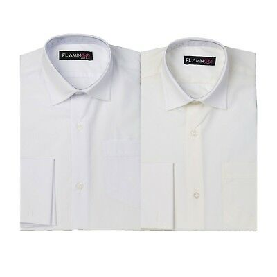 Boys White and Ivory Classic Collar Formal Cufflink Shirts Kids Page Boy Wedding