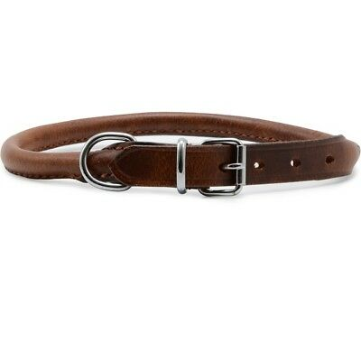Round Leather Dog Collar Heritage High Quality Sewn Puppy Nylon Core in Chestnut