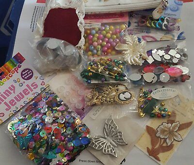 BULK LOT OF CRAFT STUFF mostly newer craft SEQUINSBEADS MOTIF BUTTONS CAMEOS
