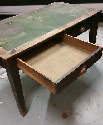 1930's/40's VINTAGE TWO DRAWER DESK POST OFFICE inlaid green leather top