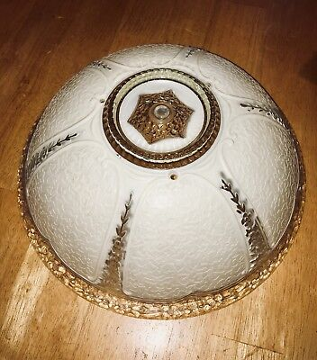 """Vintage 12.25"""" Round Ceiling Light Fixture Decorative Frosted Glass Globe Shade"""