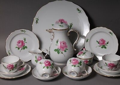 16 pc Meissen Crossed Swords Red Pink Rose Coffee Set for 4 & Cake Plate 2nd
