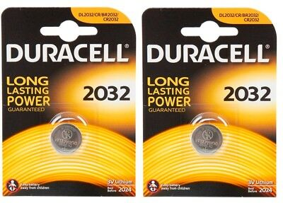 2 x Duracell CR2032 3V Lithium Round Flat Cell Battery Long Lasting