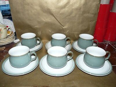 denby regency green set of 6x tea cups and saucers
