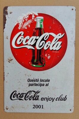 Targa in metallo latta insegna COCA-COLA - Coca-Cola ENJOY CLUB 2001 -