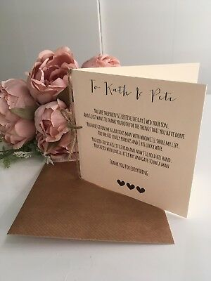 Vintage/Rustic 'To My in-laws' wedding Day Poem Card - from the Bride