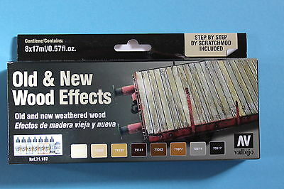 Vallejo Airbrush Model Air Set Old & New Wood Effects 8x17ml