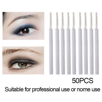 50X 5R Permanent Makeup Eyebrow Tattoo Needles Microblading Eyebrow Makeup PenAA