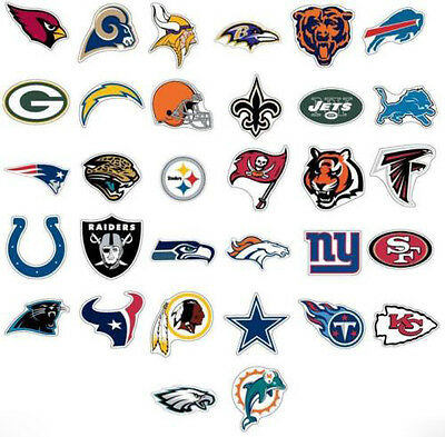 NFL Sticker / Aufkleber - American Football - Alle Teams - Patriots, Eagles ...